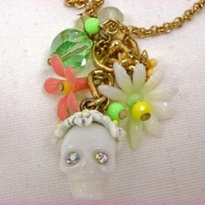 Betsey Johnson Summer of Love Skull Flower Pendant